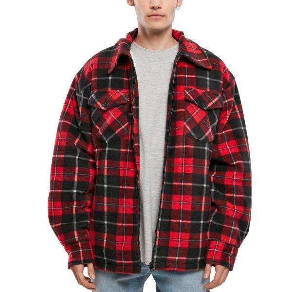 Urban Classics - Flannel Teddy Shirt Jacket red
