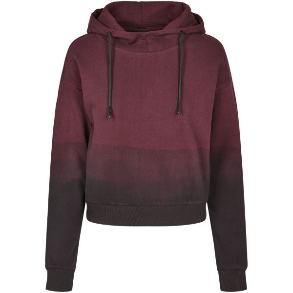 Urban Classics Ladies - DIP DYE Hoody black / redwine